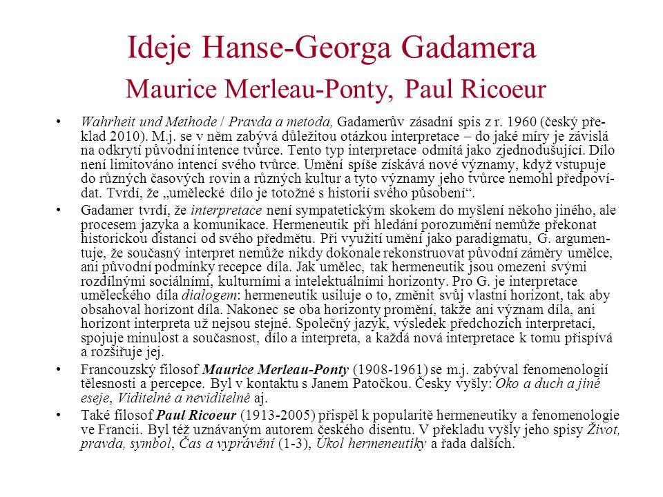 Ideje Hanse-Georga Gadamera Maurice Merleau-Ponty, Paul Ricoeur Wahrheit und Methode / Pravda a metoda, Gadamerův zásadní spis z r. 1960 (český pře- k