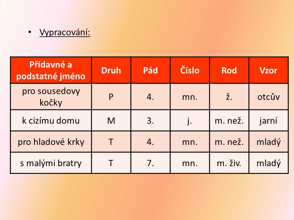 Přídavné a podstatné jméno DruhPádČísloRodVzor pro sousedovy kočky P4.mn.ž.otcův k cizímu domuM3.j.m.