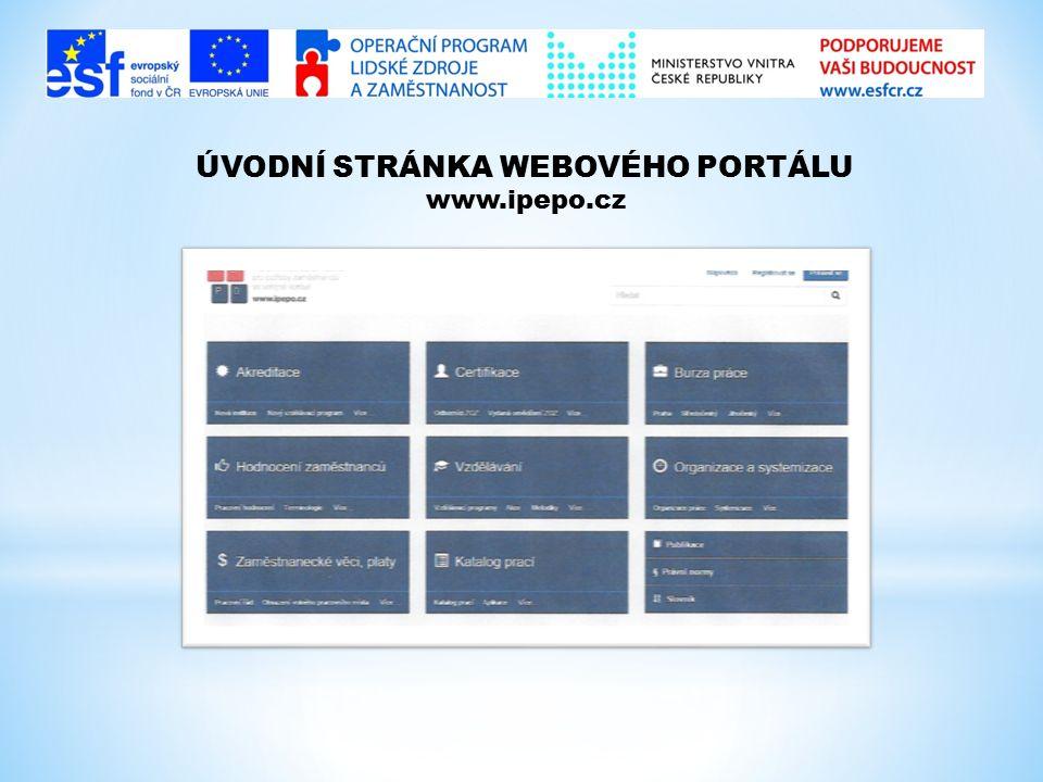 ÚVODNÍ STRÁNKA WEBOVÉHO PORTÁLU www.ipepo.cz