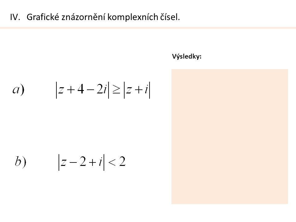 IV.Grafické znázornění komplexních čísel. Výsledky: