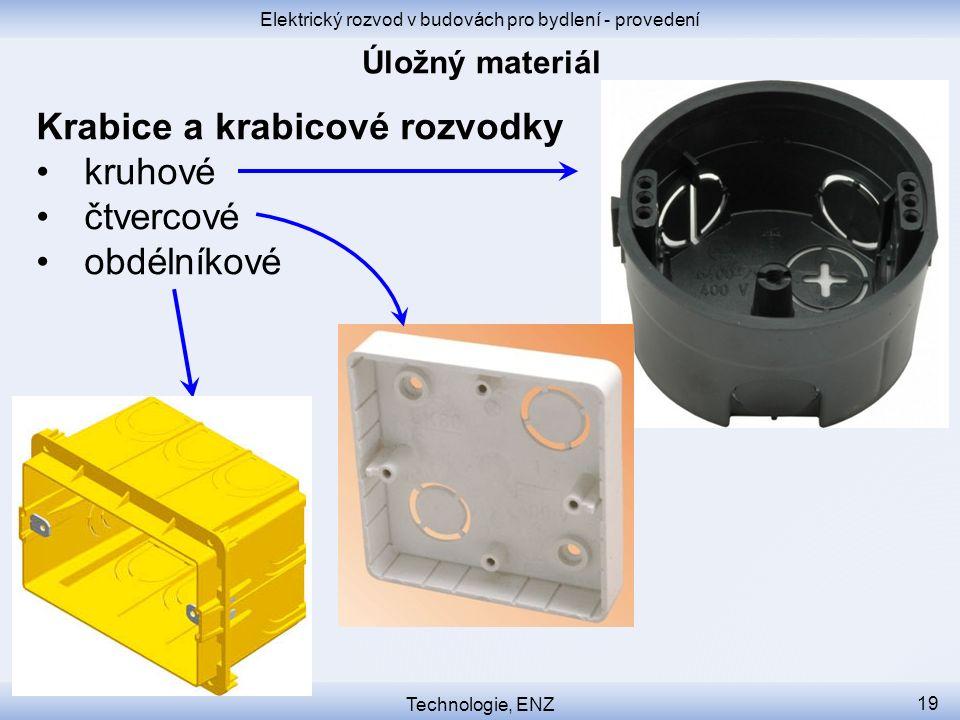 Elektrický rozvod v budovách pro bydlení - provedení Technologie, ENZ 19 Krabice a krabicové rozvodky kruhové čtvercové obdélníkové