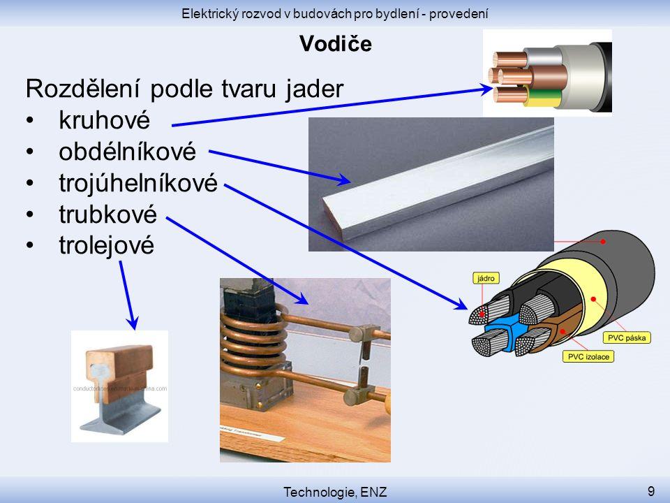Elektrický rozvod v budovách pro bydlení - provedení Technologie, ENZ 9 Rozdělení podle tvaru jader kruhové obdélníkové trojúhelníkové trubkové trolej