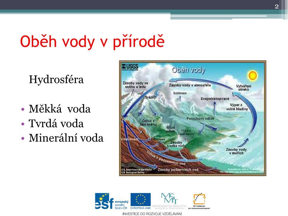 Oběh vody v přírodě 2 Hydrosféra Měkká voda Tvrdá voda Minerální voda