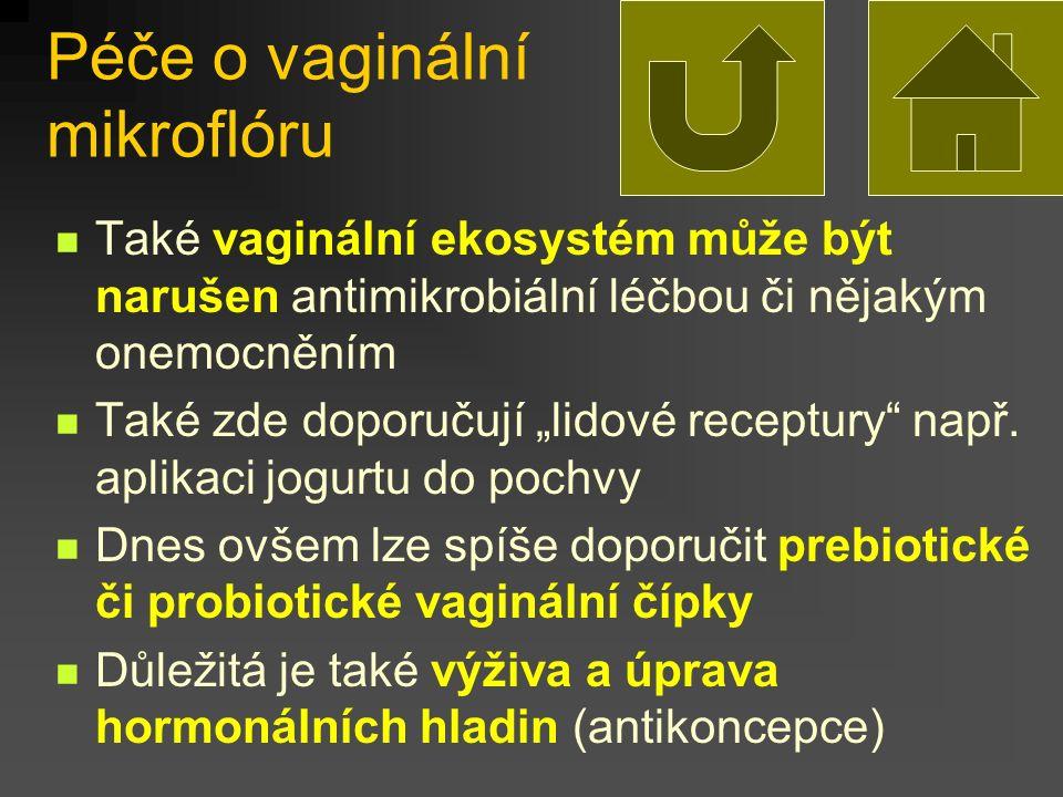 """Péče o vaginální mikroflóru Také vaginální ekosystém může být narušen antimikrobiální léčbou či nějakým onemocněním Také zde doporučují """"lidové recept"""
