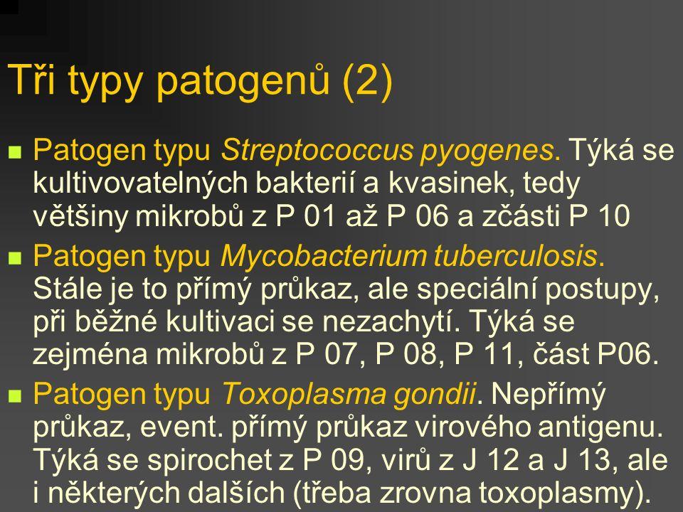 Tři typy patogenů (2) Patogen typu Streptococcus pyogenes. Týká se kultivovatelných bakterií a kvasinek, tedy většiny mikrobů z P 01 až P 06 a zčásti