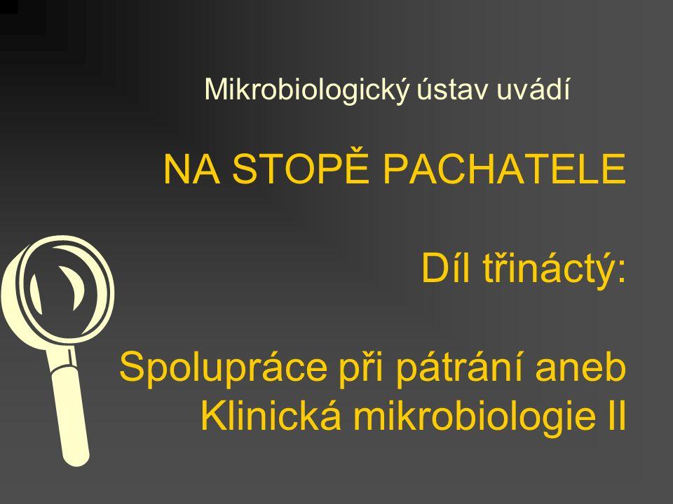 NA STOPĚ PACHATELE Díl třináctý: Spolupráce při pátrání aneb Klinická mikrobiologie II Mikrobiologický ústav uvádí 