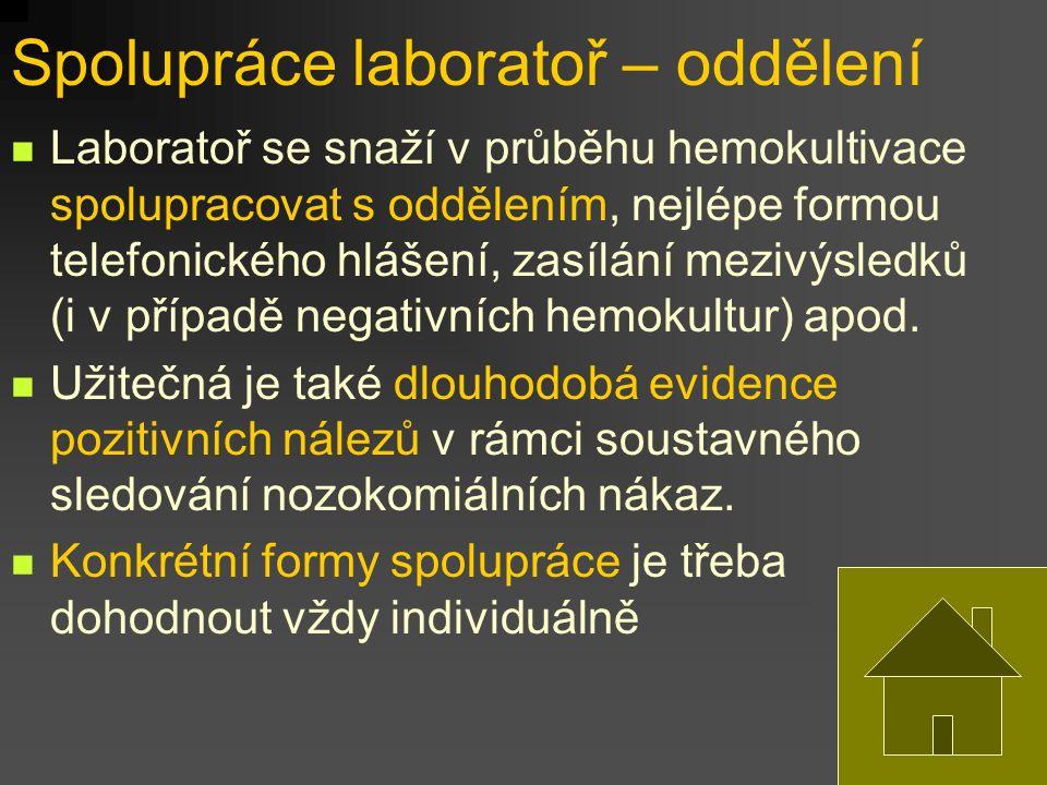 Spolupráce laboratoř – oddělení Laboratoř se snaží v průběhu hemokultivace spolupracovat s oddělením, nejlépe formou telefonického hlášení, zasílání m