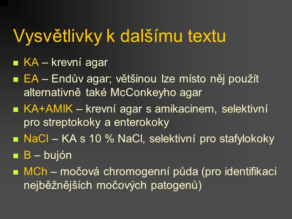 Vysvětlivky k dalšímu textu KA – krevní agar EA – Endův agar; většinou lze místo něj použít alternativně také McConkeyho agar KA+AMIK – krevní agar s