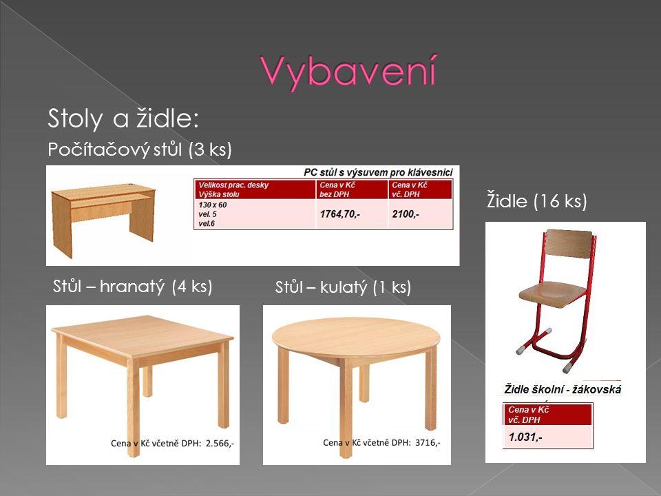 Počítačový stůl (3 ks) Stůl – hranatý (4 ks) Stůl – kulatý (1 ks) Židle (16 ks) Stoly a židle: