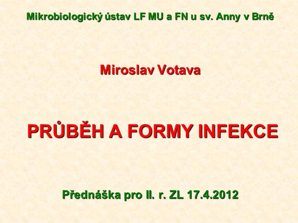 Mikrobiologický ústav LF MU a FN u sv. Anny v Brně Miroslav Votava PRŮBĚH A FORMY INFEKCE PRŮBĚH A FORMY INFEKCE Přednáška pro II. r. ZL 17.4.2012