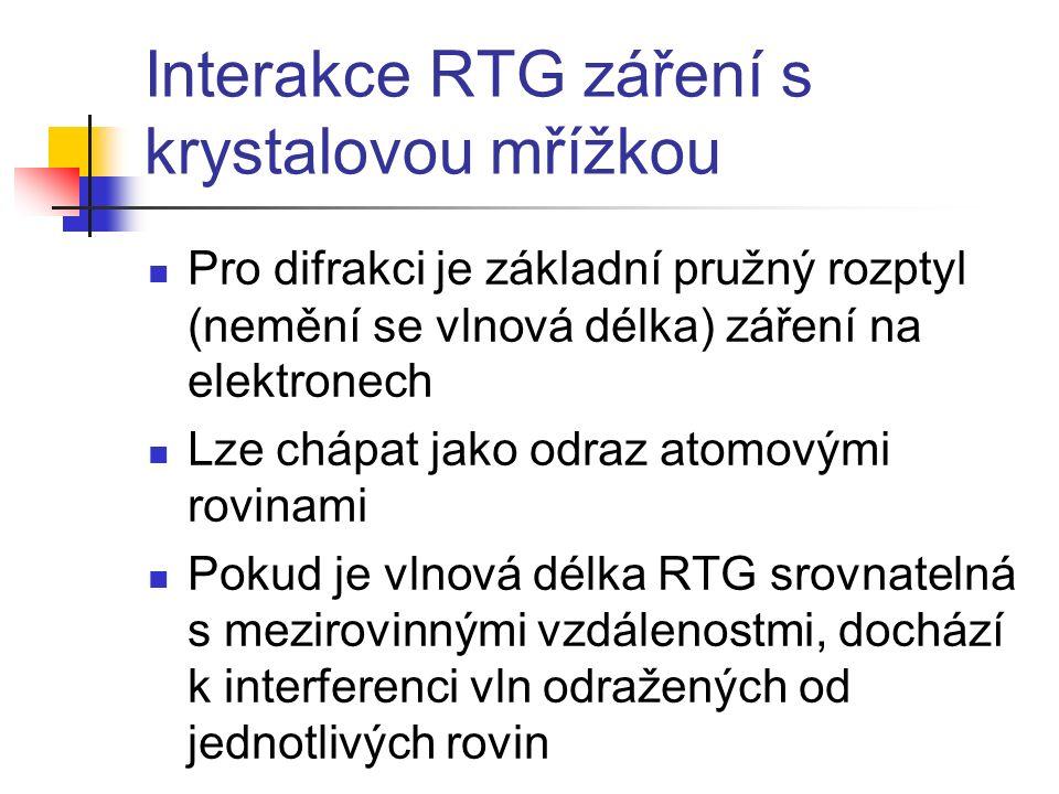Interakce RTG záření s krystalovou mříž kou Pro difrakci je základní pružný ro z ptyl (nemění se vlnová délka) záření na elektronech L ze chápat jako