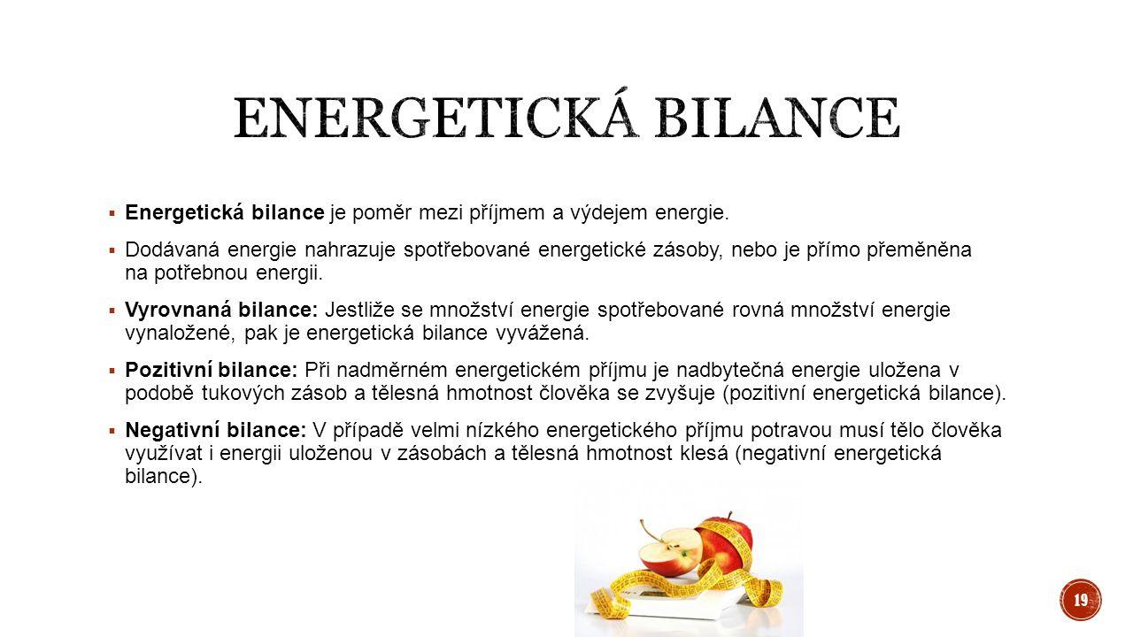  Energetická bilance je poměr mezi příjmem a výdejem energie.  Dodávaná energie nahrazuje spotřebované energetické zásoby, nebo je přímo přeměněna n
