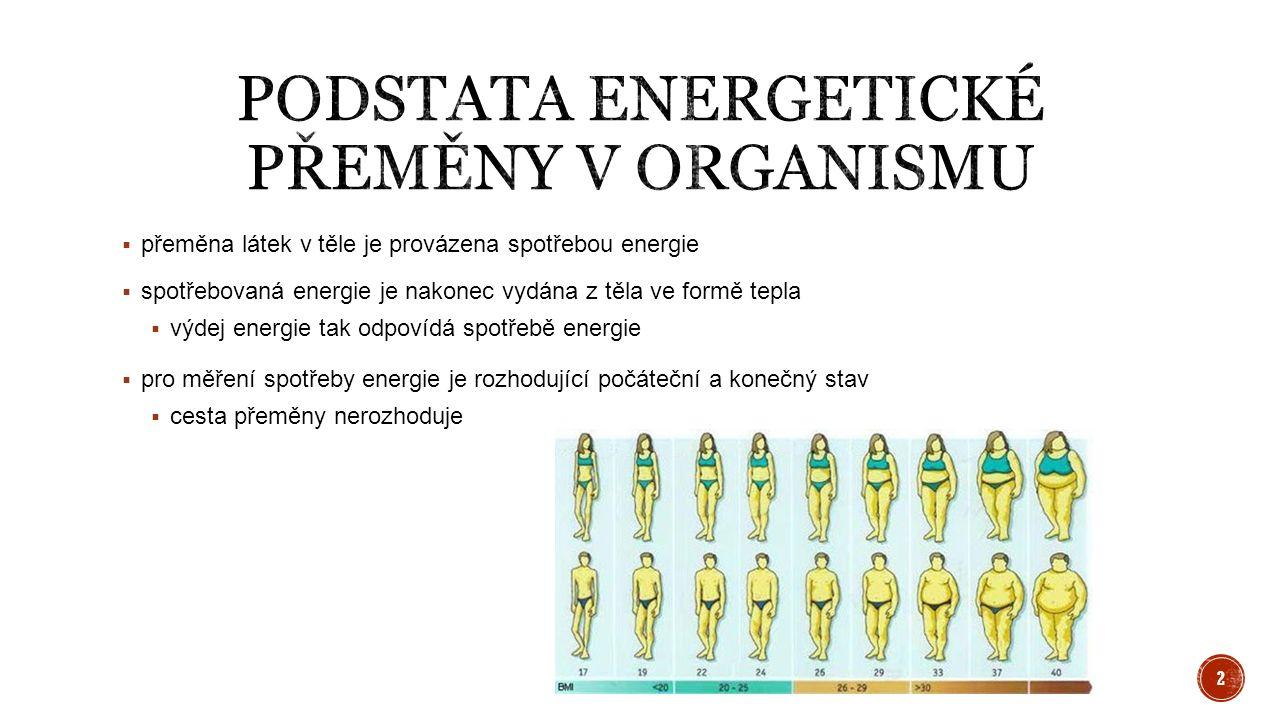  přeměna látek v těle je provázena spotřebou energie  spotřebovaná energie je nakonec vydána z těla ve formě tepla  výdej energie tak odpovídá spot