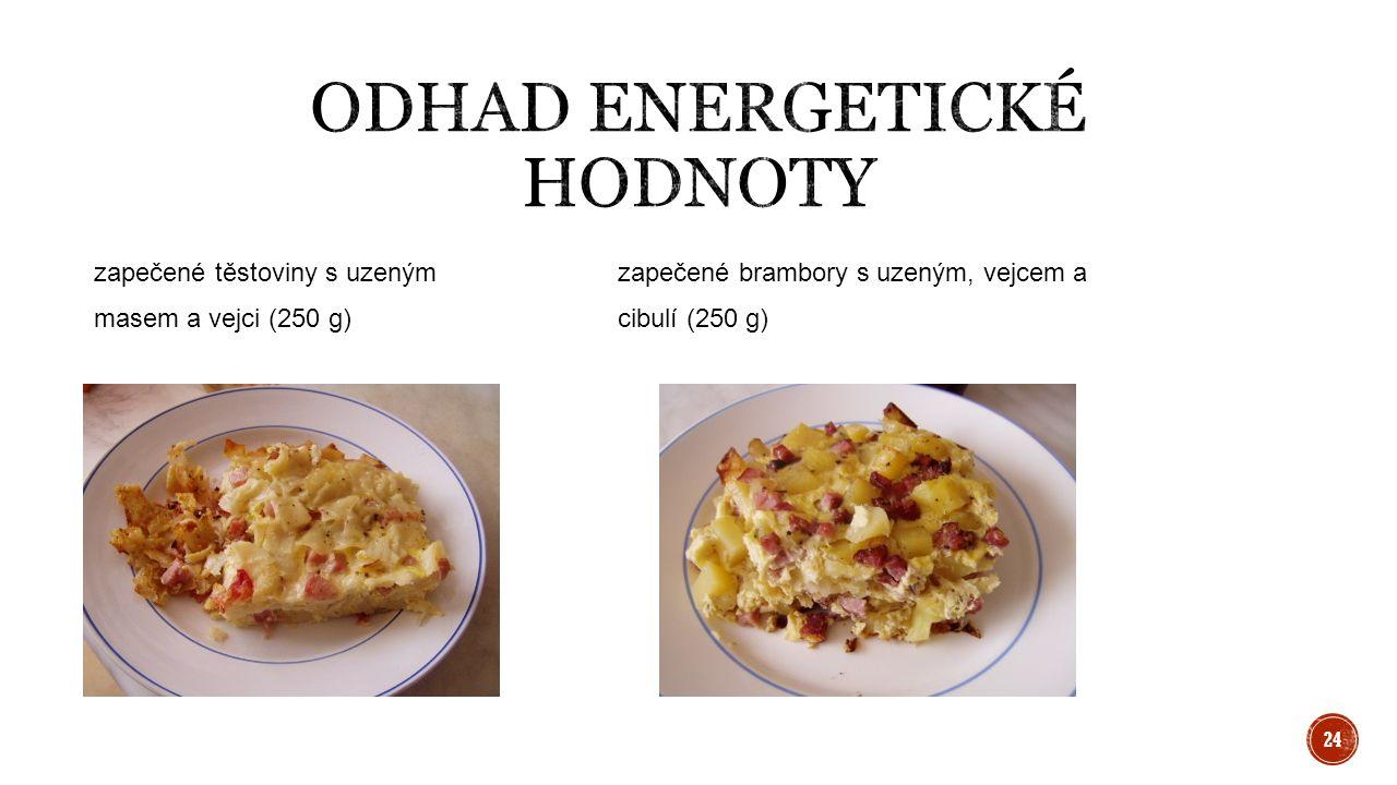 zapečené těstoviny s uzenýmzapečené brambory s uzeným, vejcem a masem a vejci (250 g)cibulí (250 g) 24