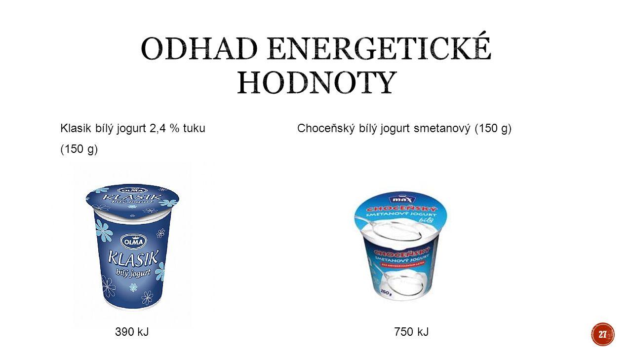 Klasik bílý jogurt 2,4 % tukuChoceňský bílý jogurt smetanový (150 g) (150 g) 390 kJ 750 kJ 27