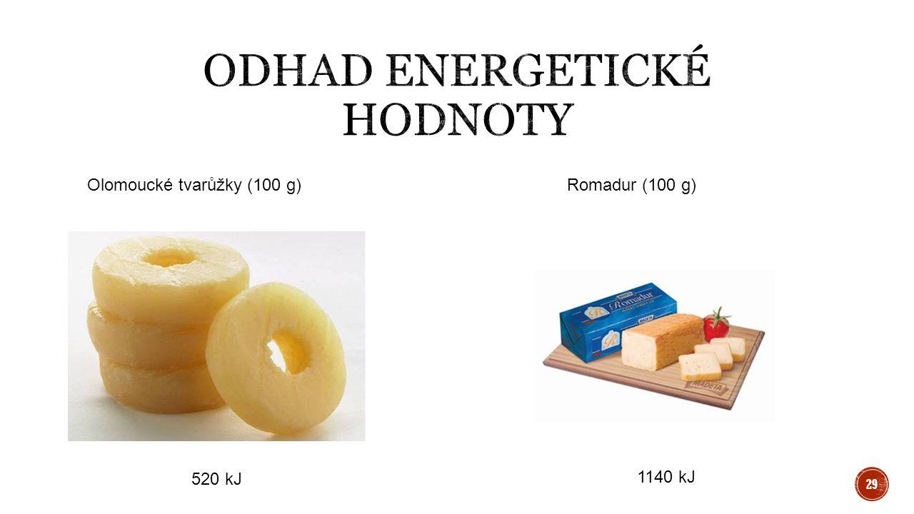 Olomoucké tvarůžky (100 g)Romadur (100 g) 520 kJ 1140 kJ 29