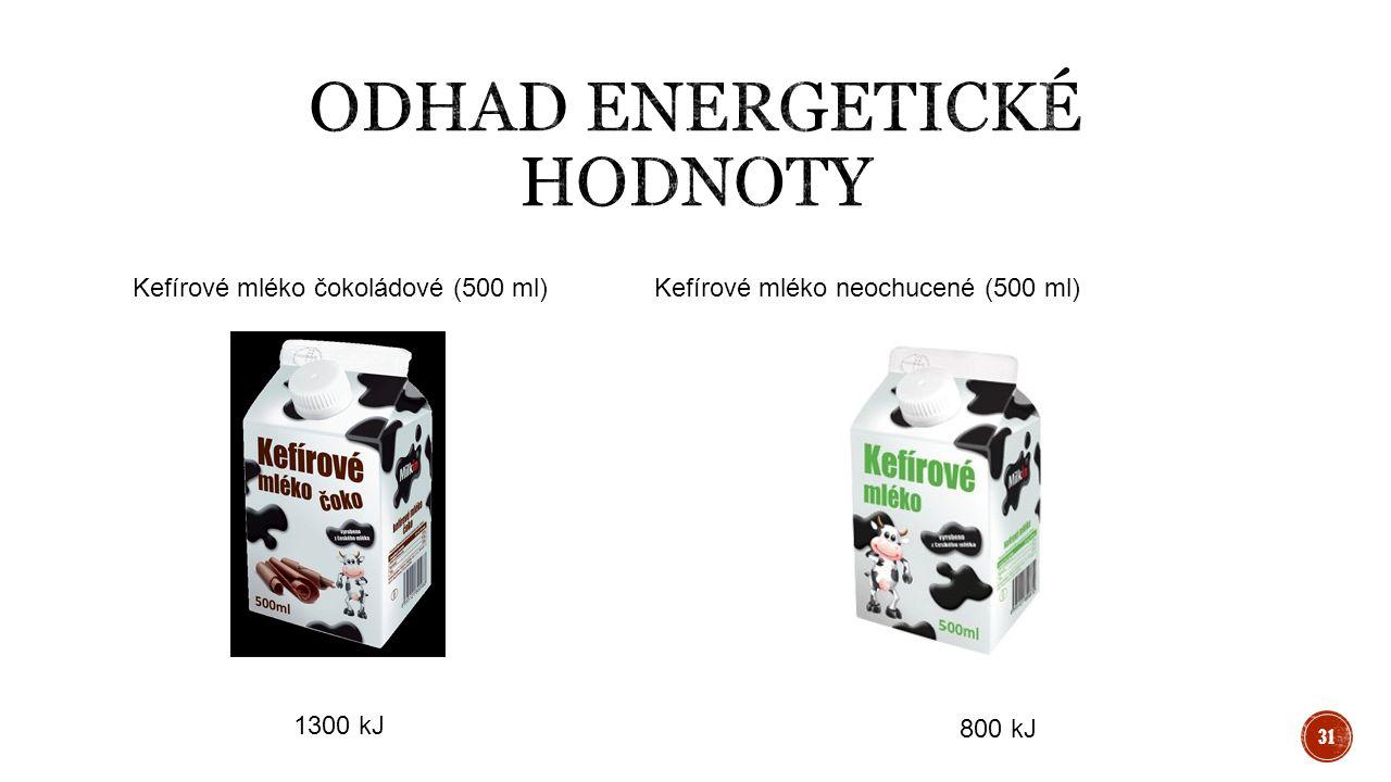 Kefírové mléko čokoládové (500 ml)Kefírové mléko neochucené (500 ml) 1300 kJ 800 kJ 31