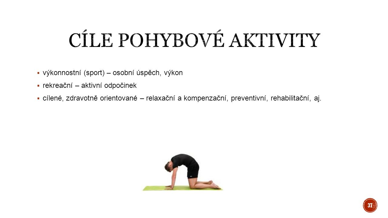  výkonnostní (sport) – osobní úspěch, výkon  rekreační – aktivní odpočinek  cílené, zdravotně orientované – relaxační a kompenzační, preventivní, r