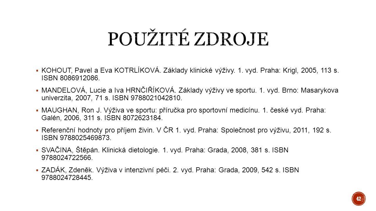  KOHOUT, Pavel a Eva KOTRLÍKOVÁ. Základy klinické výživy. 1. vyd. Praha: Krigl, 2005, 113 s. ISBN 8086912086.  MANDELOVÁ, Lucie a Iva HRNČIŘÍKOVÁ. Z