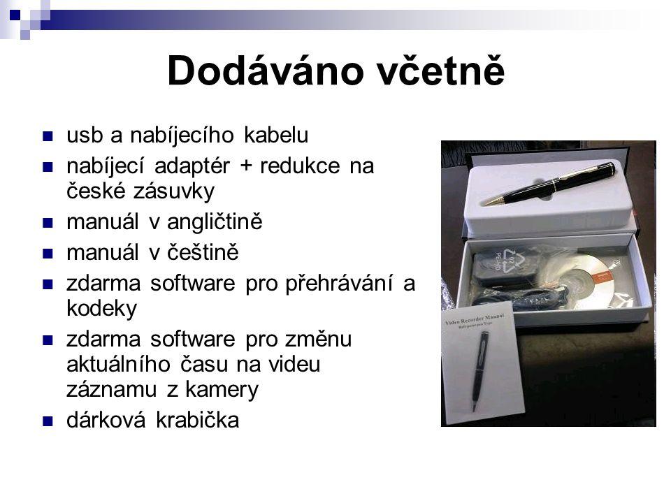 Dodáváno včetně usb a nabíjecího kabelu nabíjecí adaptér + redukce na české zásuvky manuál v angličtině manuál v češtině zdarma software pro přehrávání a kodeky zdarma software pro změnu aktuálního času na videu záznamu z kamery dárková krabička