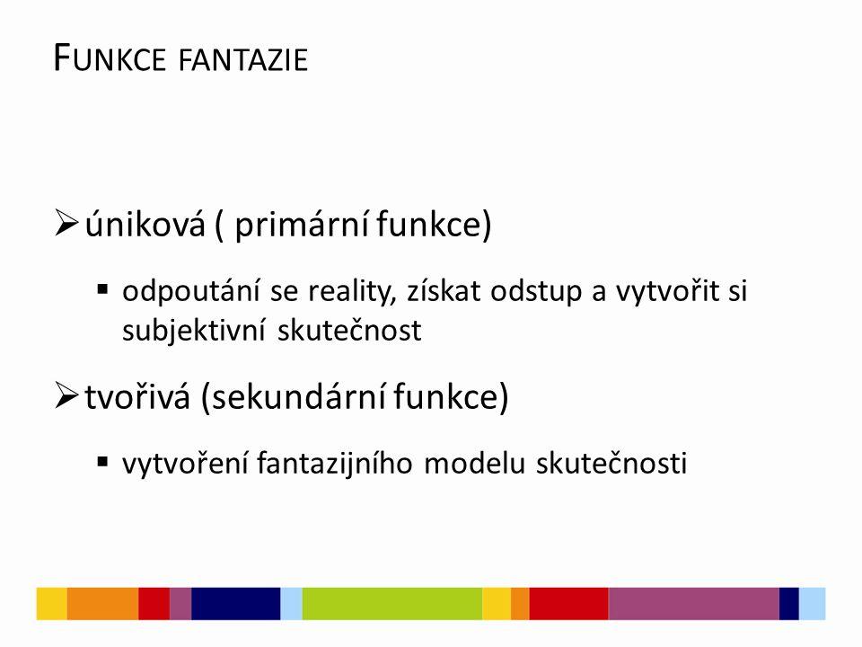 F UNKCE FANTAZIE  úniková ( primární funkce)  odpoutání se reality, získat odstup a vytvořit si subjektivní skutečnost  tvořivá (sekundární funkce)  vytvoření fantazijního modelu skutečnosti