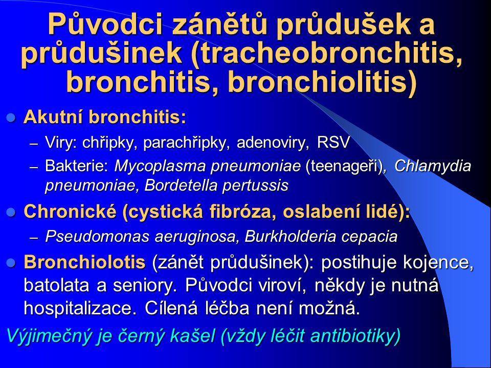 Původci zánětů průdušek a průdušinek (tracheobronchitis, bronchitis, bronchiolitis) Akutní bronchitis: Akutní bronchitis: – Viry: chřipky, parachřipky
