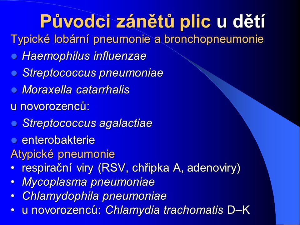 Původci zánětů plic u dětí Původci zánětů plic u dětí Typické lobární pneumonie a bronchopneumonie Haemophilus influenzae Haemophilus influenzae Strep