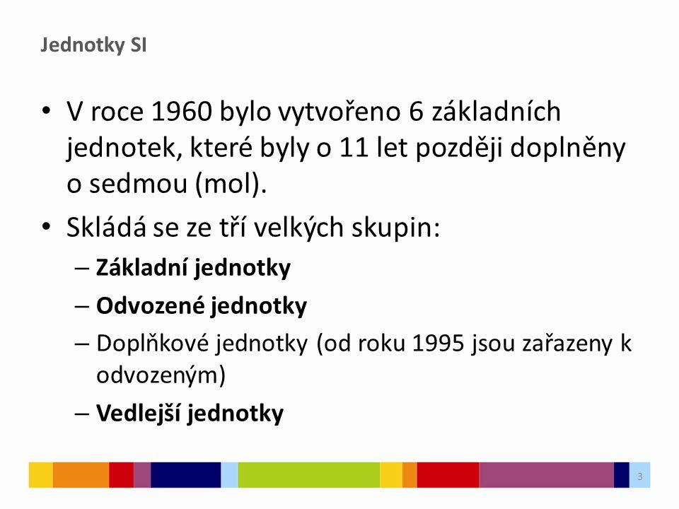 Jednotky SI V roce 1960 bylo vytvořeno 6 základních jednotek, které byly o 11 let později doplněny o sedmou (mol). Skládá se ze tří velkých skupin: –