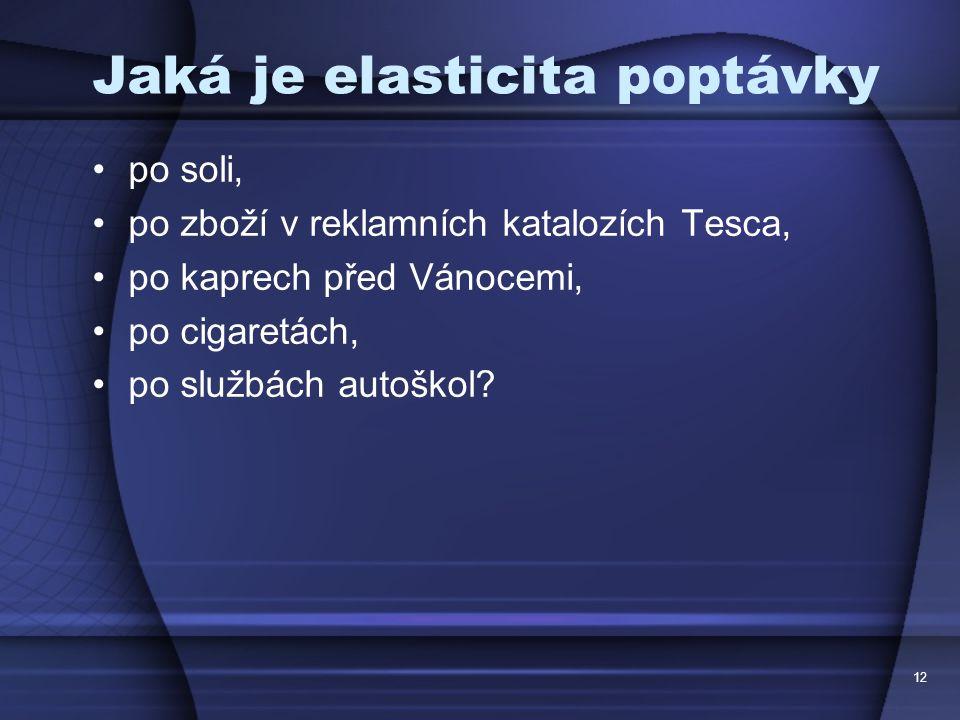 12 Jaká je elasticita poptávky po soli, po zboží v reklamních katalozích Tesca, po kaprech před Vánocemi, po cigaretách, po službách autoškol?