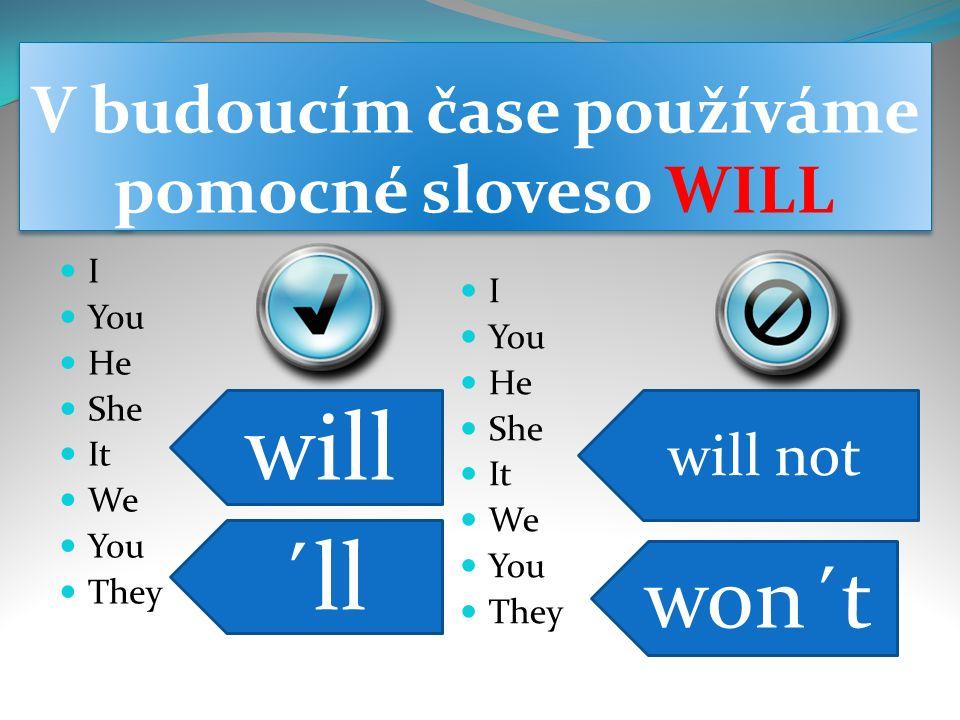 Kladná oznamovací věta Podmět + will + významové sloveso + …….