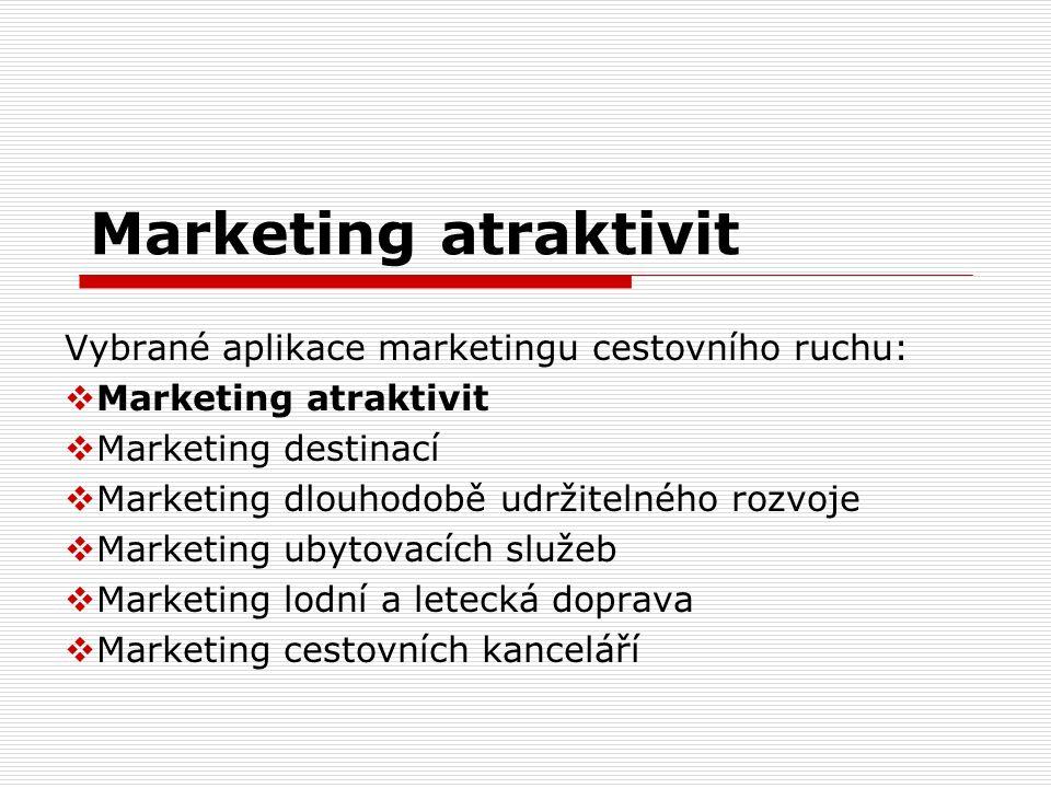 Marketing atraktivit Vybrané aplikace marketingu cestovního ruchu:  Marketing atraktivit  Marketing destinací  Marketing dlouhodobě udržitelného ro