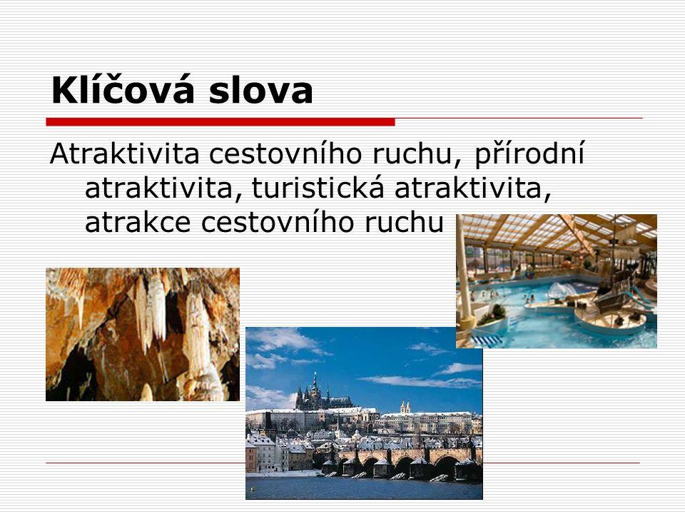 Klíčová slova Atraktivita cestovního ruchu, přírodní atraktivita, turistická atraktivita, atrakce cestovního ruchu