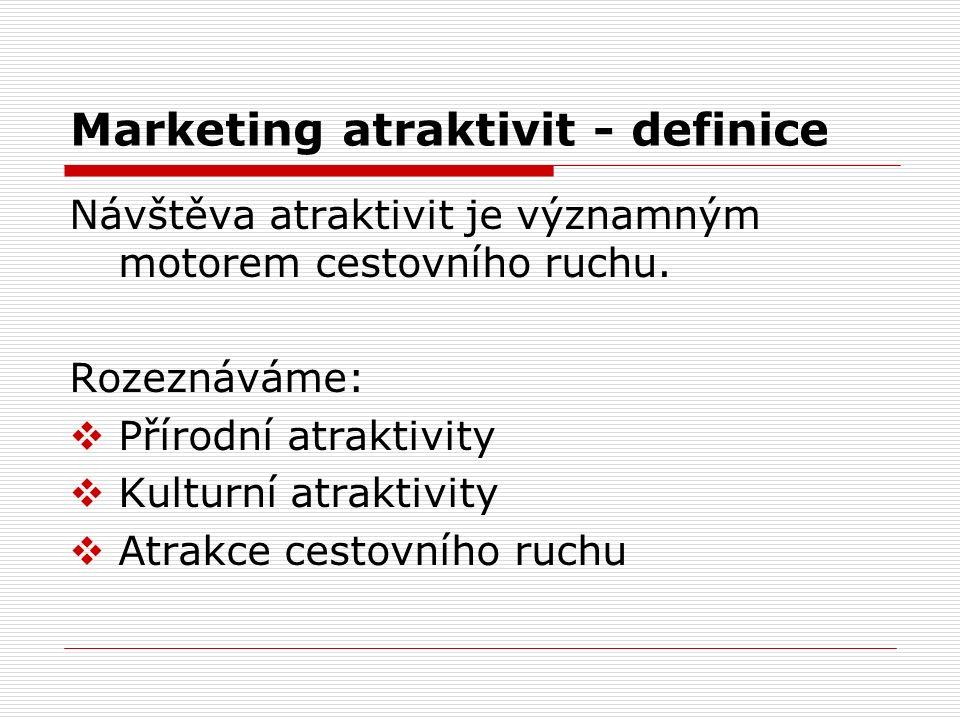 Marketing atraktivit - definice Návštěva atraktivit je významným motorem cestovního ruchu. Rozeznáváme:  Přírodní atraktivity  Kulturní atraktivity