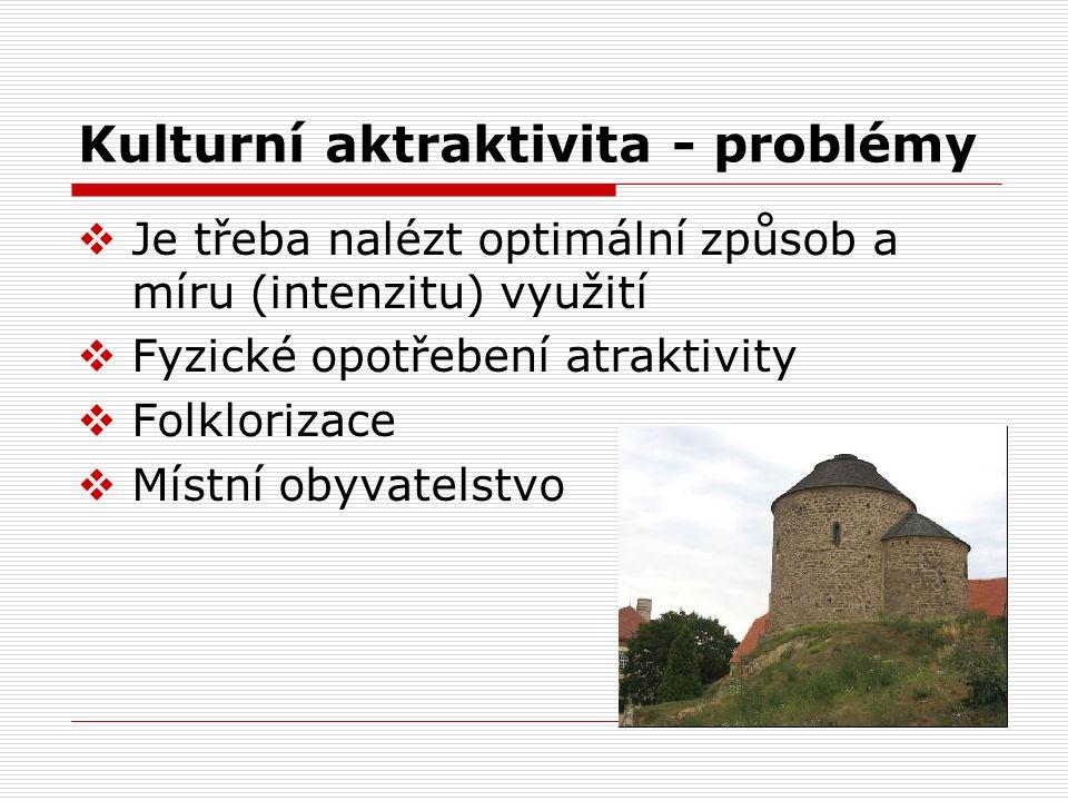 Kulturní aktraktivita - problémy  Je třeba nalézt optimální způsob a míru (intenzitu) využití  Fyzické opotřebení atraktivity  Folklorizace  Místn