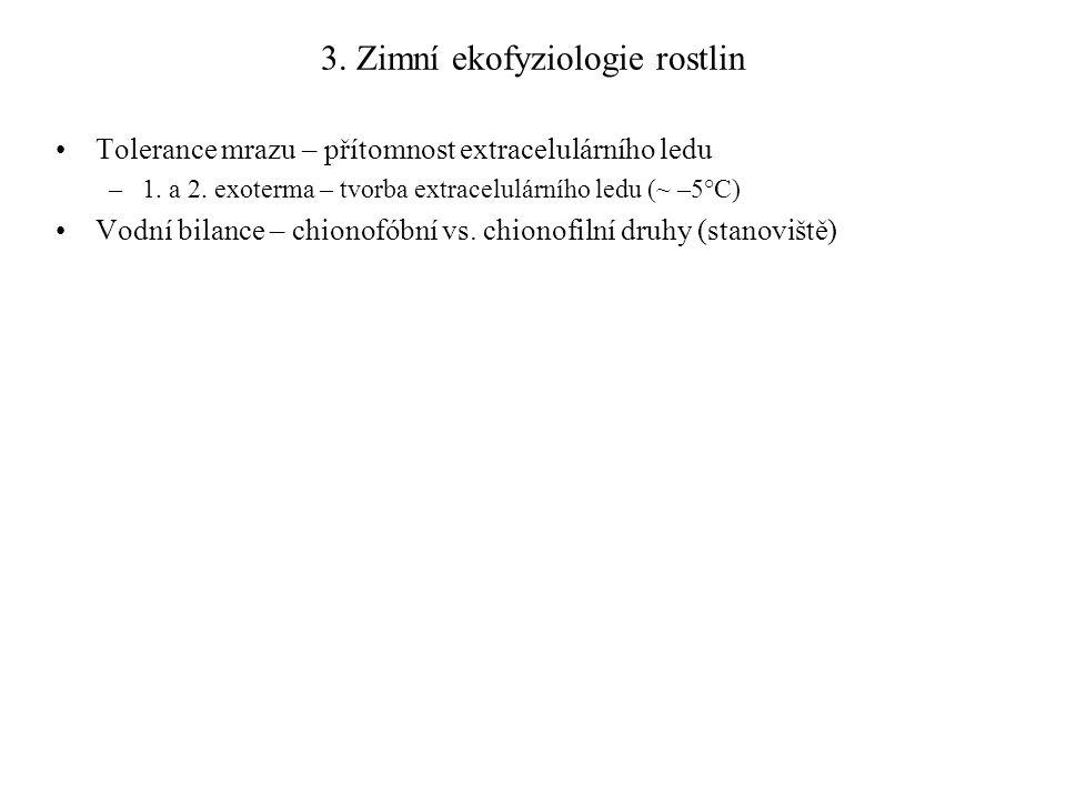 3. Zimní ekofyziologie rostlin Tolerance mrazu – přítomnost extracelulárního ledu –1. a 2. exoterma – tvorba extracelulárního ledu (~ –5°C) Vodní bila