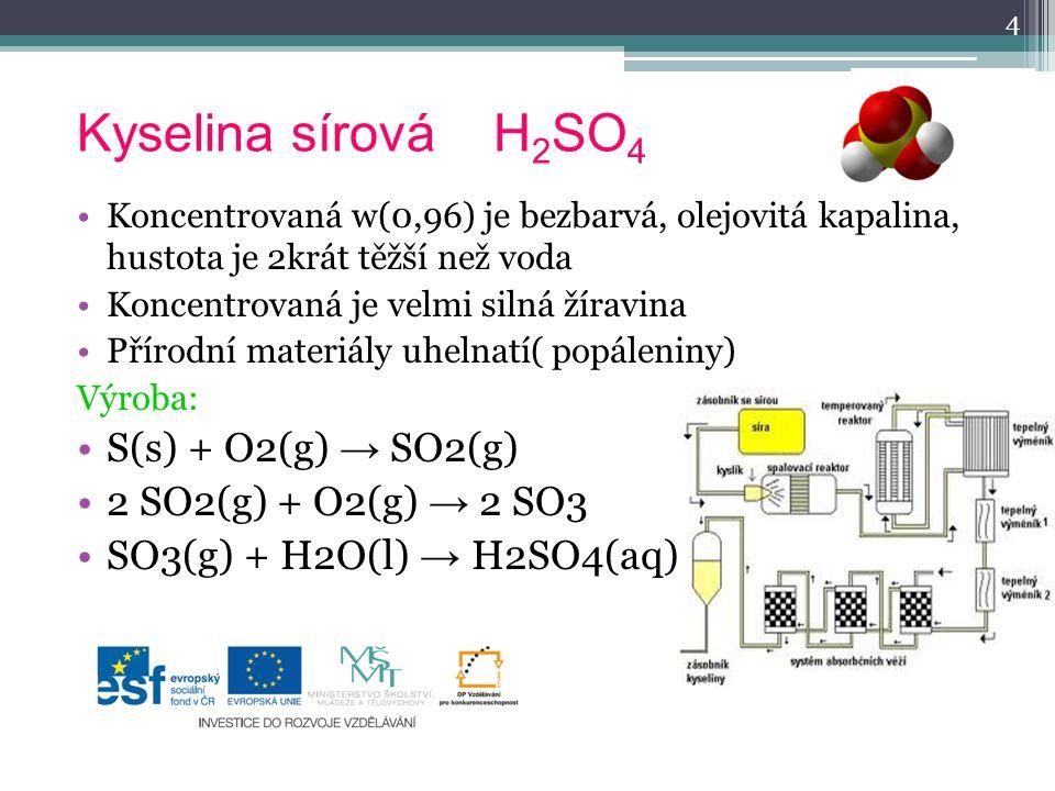 Kyselina sírová H 2 SO 4 Koncentrovaná w(0,96) je bezbarvá, olejovitá kapalina, hustota je 2krát těžší než voda Koncentrovaná je velmi silná žíravina