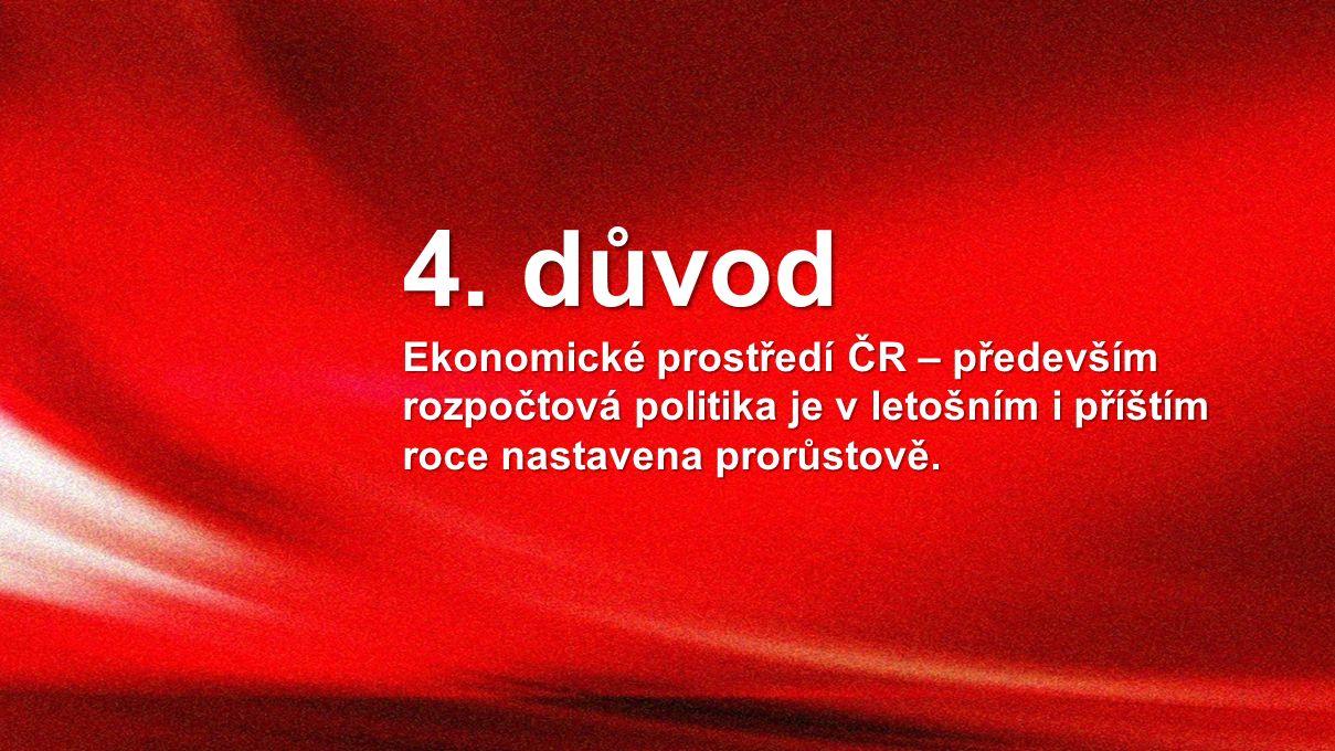 4. důvod Ekonomické prostředí ČR – především rozpočtová politika je v letošním i příštím roce nastavena prorůstově.