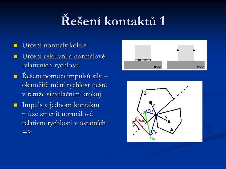 Řešení kontaktů 1 Určení normály kolize Určení normály kolize Určení relativní a normálové relativních rychlosti Určení relativní a normálové relativn