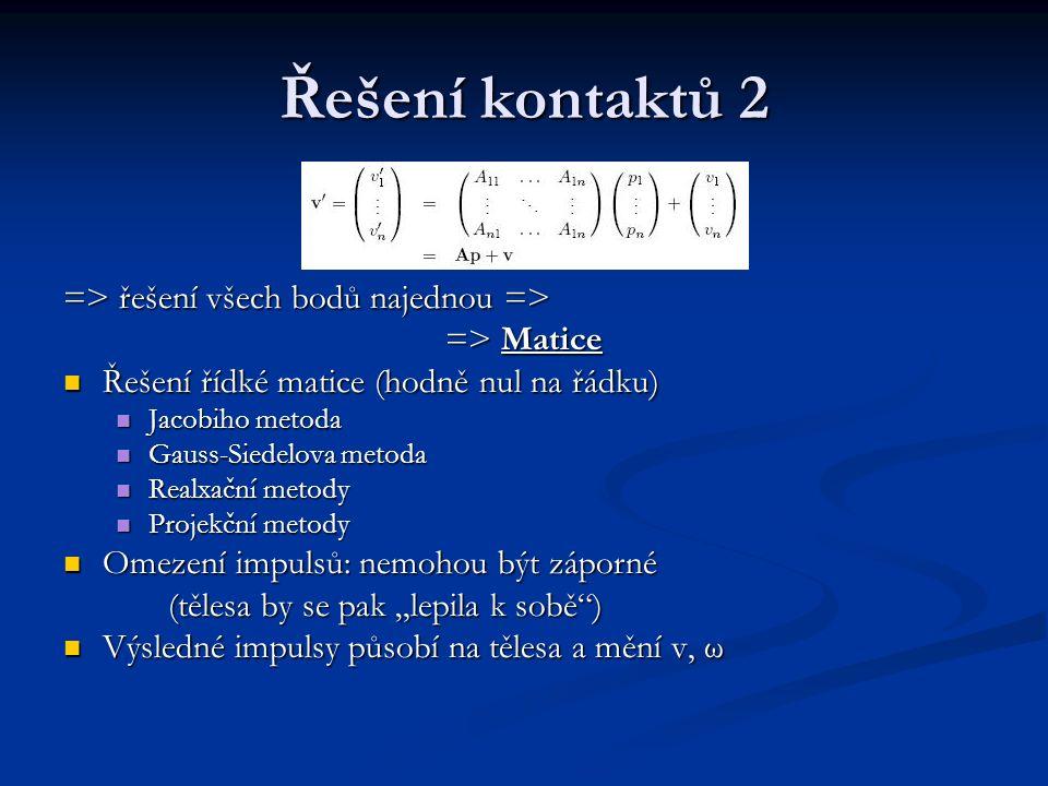 Řešení kontaktů 2 => řešení všech bodů najednou => => Matice Řešení řídké matice (hodně nul na řádku) Jacobiho metoda Gauss-Siedelova metoda Realxační