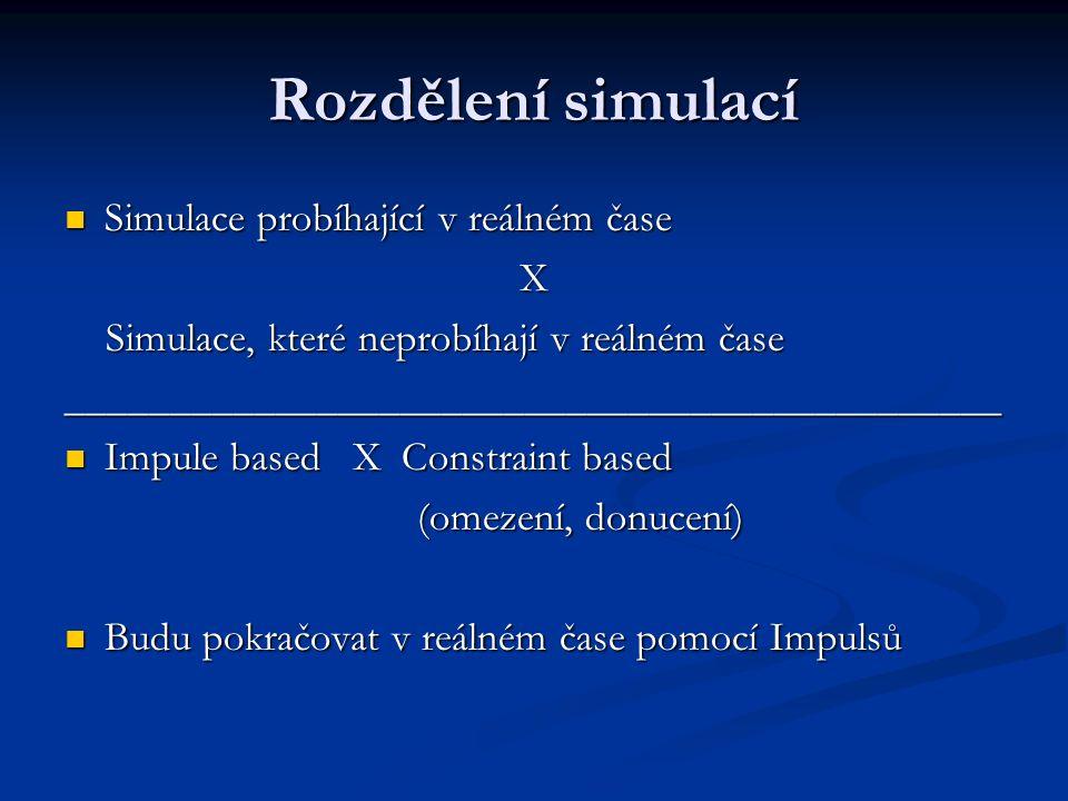 Rozdělení simulací Simulace probíhající v reálném čase Simulace probíhající v reálném časeX Simulace, které neprobíhají v reálném čase Simulace, které