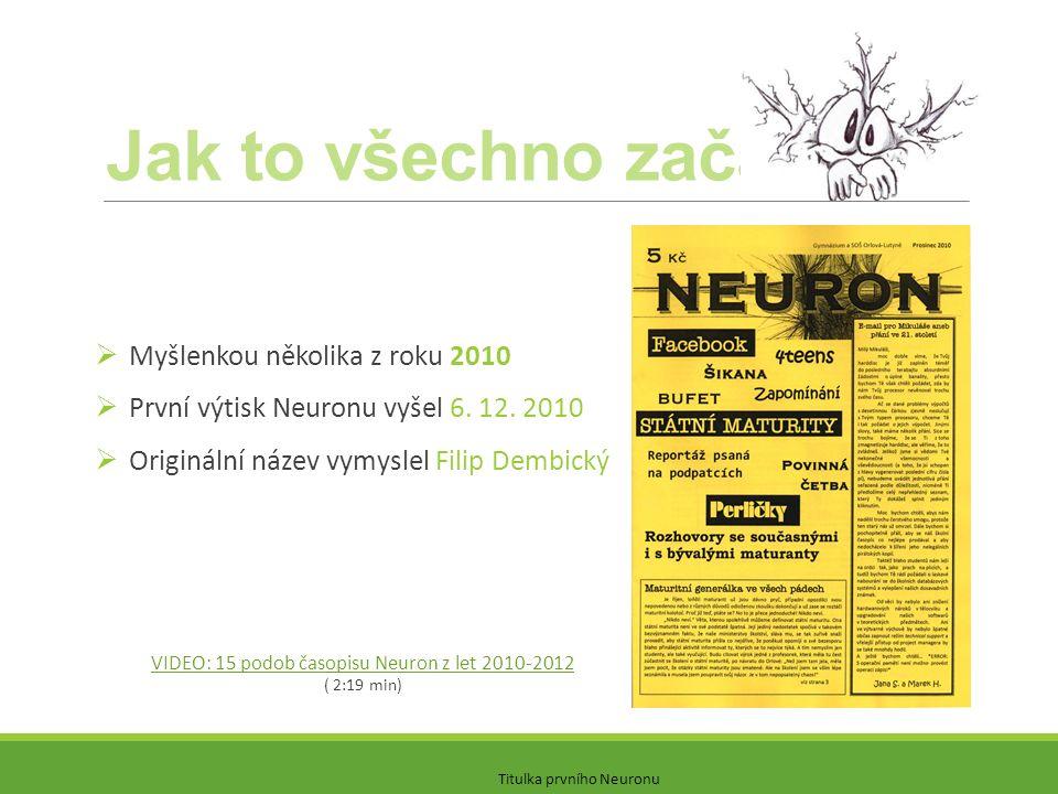 Jak to všechno začalo?  Myšlenkou několika z roku 2010  První výtisk Neuronu vyšel 6. 12. 2010  Originální název vymyslel Filip Dembický VIDEO: 15