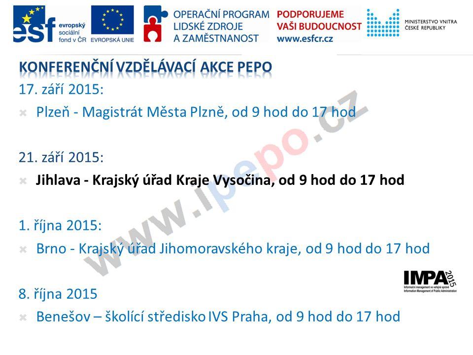 17. září 2015:  Plzeň - Magistrát Města Plzně, od 9 hod do 17 hod 21. září 2015:  Jihlava - Krajský úřad Kraje Vysočina, od 9 hod do 17 hod 1. října