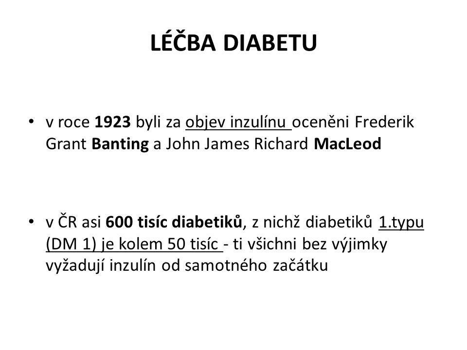 LÉČBA DIABETU v roce 1923 byli za objev inzulínu oceněni Frederik Grant Banting a John James Richard MacLeod v ČR asi 600 tisíc diabetiků, z nichž dia