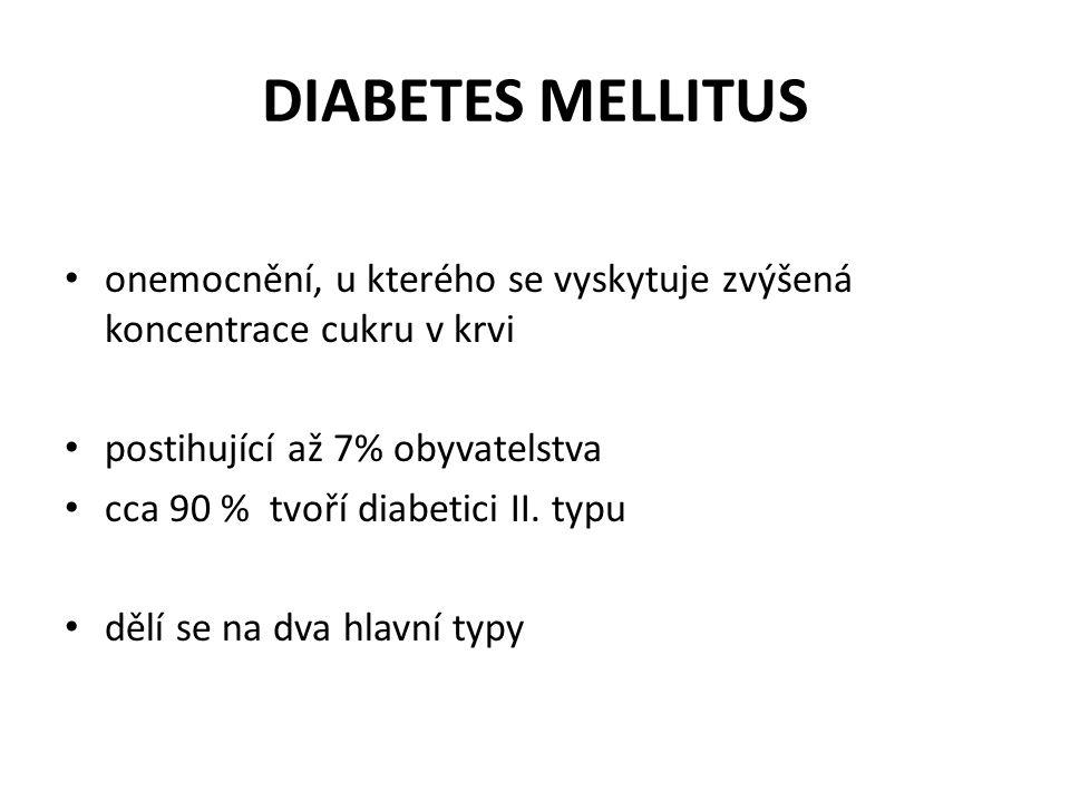 DIABETES MELLITUS onemocnění, u kterého se vyskytuje zvýšená koncentrace cukru v krvi postihující až 7% obyvatelstva cca 90 % tvoří diabetici II. typu