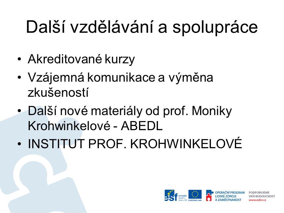 Další vzdělávání a spolupráce Akreditované kurzy Vzájemná komunikace a výměna zkušeností Další nové materiály od prof.