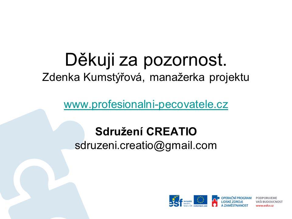 Děkuji za pozornost. Zdenka Kumstýřová, manažerka projektu www.profesionalni-pecovatele.cz Sdružení CREATIO sdruzeni.creatio@gmail.com www.profesional