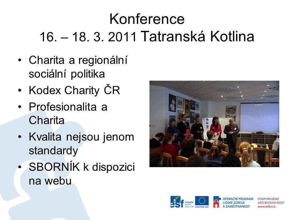 Konference 16. – 18. 3. 2011 Tatranská Kotlina Charita a regionální sociální politika Kodex Charity ČR Profesionalita a Charita Kvalita nejsou jenom s