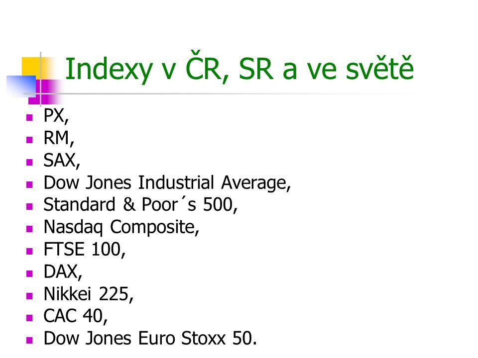 PX oficiální index Burzy cenných papírů Praha, cenový index blue-chips emisí, vážený tržní kapitalizací, nástupce indexů PX 50 a PX-D  vznik 20.