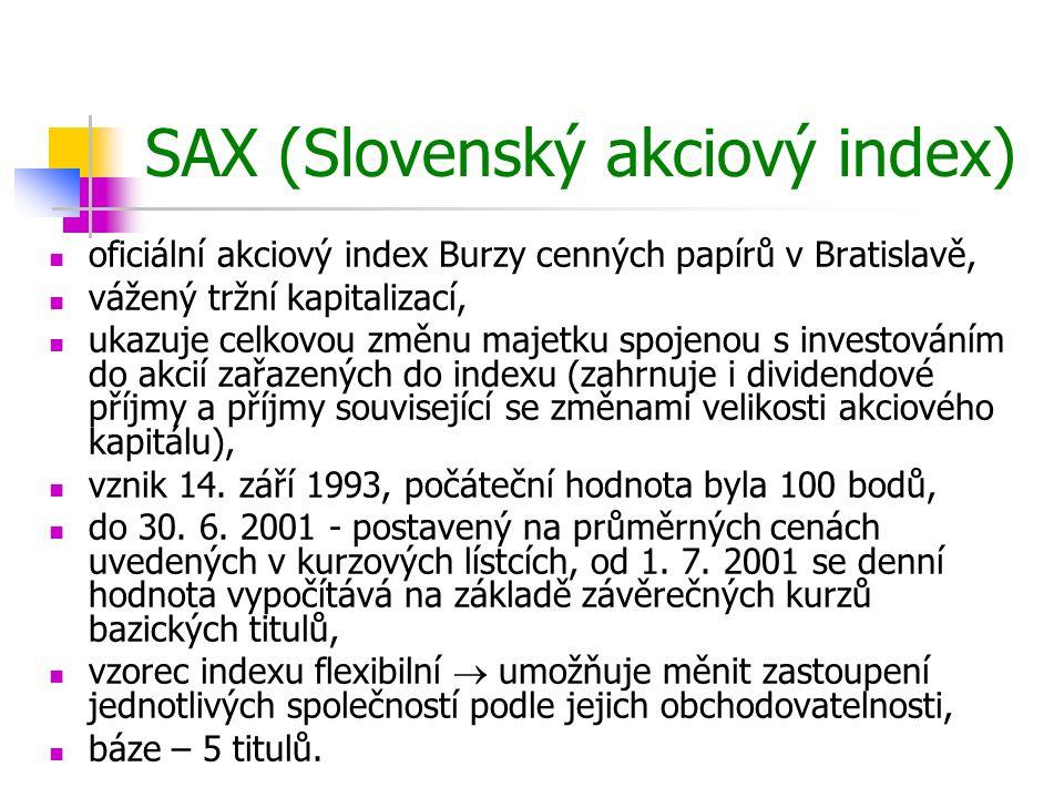 Báze indexu SAX NázevVáha (%) Slovnaft29,96 Všeobecná úverová banka27,61 OTP Banka Slovensko22,00 Slovenské energetické strojárne15,33 Biotika3,10 Celkem100,00