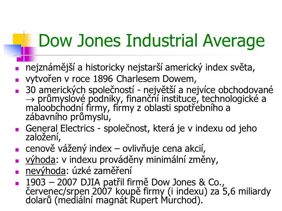Dow Jones Industrial Average nejznámější a historicky nejstarší americký index světa, vytvořen v roce 1896 Charlesem Dowem, 30 amerických společností